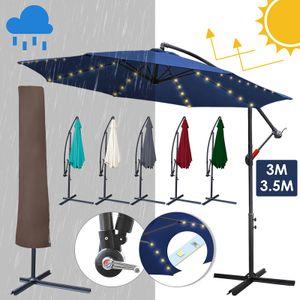 karpal 3m-3.5m Sonnenschirm mit LED Solar & schirmhuelle  Neigbar Ampelschirm Balkonschirm Marktschirm UV40+ Gartenschirm,Rot,3.5m