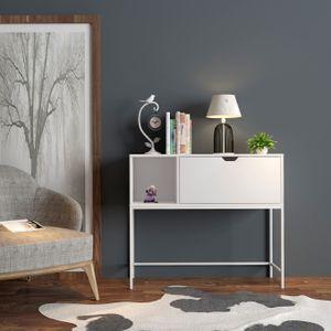 SoBuy Konsolentisch Beistelltisch Flurtisch mit 1 Klappe und Fach Sideboard Weiß BHT ca: 92x80x30cm FSB21-W
