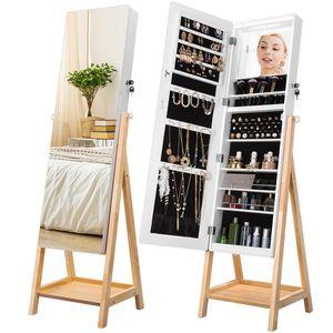 LANGRIA PY-8503 Schmuckschrank mit Spiegel 8 LEDs 150 cm mit Tablett , 10 automatische LED-Leuchten, Länge einstellbar, abschließbarer Schmuckorganizer Massivholzständer