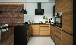 Küchenblock 165x246x285cm lava / permbroke - ares black Küchenzeile Modern U-Form
