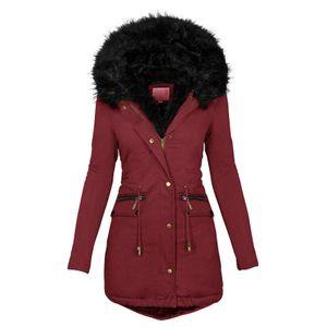 Mode Solid Women Casual Dicker Winter Slim Coat Mantel Größe:M,Farbe:Rot