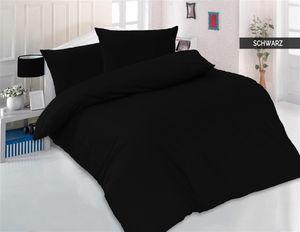 Bettwäsche 200x200 + 2 x 80x80 cm 100% Baumwolle Renforcé Uni 3 teilig Bettgarnitur Bettbezug Set mit Reißverschluss Schwarz