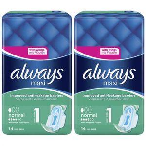 2 x Always Damenbinden Maxi Normal Binden mit Flügeln 14 Stück