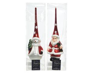 Christbaumspitze Glas 28cm Rot Schneemann oder Weihnachtsmann sortiert