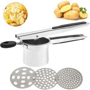 Kartoffelpresse aus Edelstahl, Spätzlepresse mit 3 Lochscheiben, Professionelle Kartoffelpresse Edelstahl rostfrei für Kartoffelpüree, Obstsäfte, Gemüsebrei