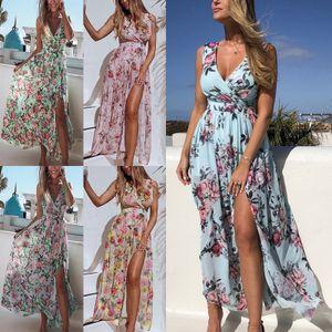 Langes Blumenkleid für Damen Ärmelloses Chiffon-Strandkleid,Farbe: Hellblau,Größe:L