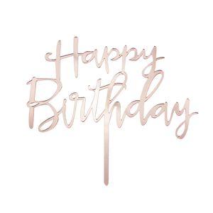 Oblique Unique Torten Topper Kuchen Muffin Cupcake Aufsatz Happy Birthday Geburtstag Jubliäum Deko - roségold