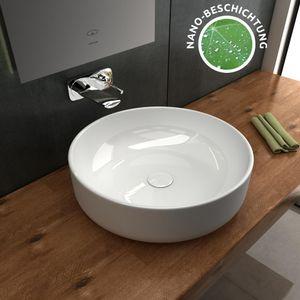 Alpenberger Keramik Lotuseffekt Aufsatzwaschbecken Rund 41 cm Leichte Reinigung