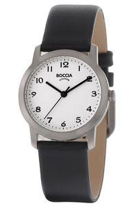 Boccia Damenuhr 3291-01 Titan  Leder schwarz