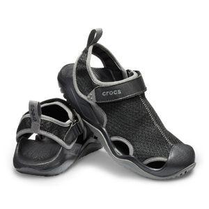 Crocs Herren-Sport-Freizeit-Sandalen Men's Swiftwater™ Mesh Deck Sandal schwarz, Größe:39-40
