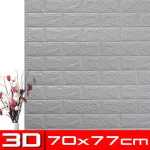 Meco 5 Stk 3D Tapete Wandpaneele Selbstklebend Ziegelstein Wasserfest Wandaufkleber Grau