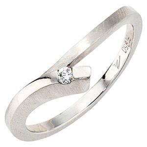 JOBO Damen Ring 950 Platin teilmattiert 1 Diamant Brillant 0,03ct. Größe 56