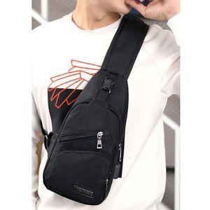 Männer Sling Brusttasche Wasserdicht Crossbody Sling Bag Outdoor Travel Schwarz Farbe Schwarz