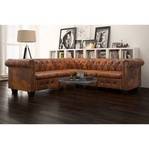 5-Sitzer Chesterfield Sofa Kunstleder Braun, Wohnlandschaft-Sofa, Couch, Relaxsofa Moderne