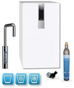 Einbau-Tafelwasseranlage BLACK & WHITE DIAMOND (Option CO2 Eigentumsflasche: 425g CO2 Zylinder / Armatur: U-Auslauf / Farbe: weiß)