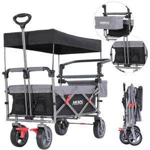 AREBOS Premium Bollerwagen mit Dach Klappbar Faltbar Gartenwagen Schwarz