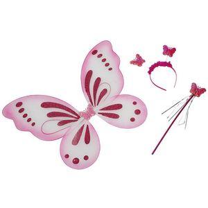 Kinder Kostüm Zubehör Schmetterling Flügel Haarreif Stab Karneval