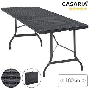Casaria Gartentisch klappbar mit Tragegriff 180x75 cm Poly Rattan - Optik Kunststoff Klapptisch Camping Campingtisch Buffettisch Schwarz