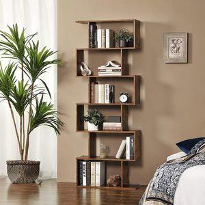 Selsey Standregal KALIOPSI Bücherregal mit 6 Regalfächern in dunkler Holzoptik, ca. 190 cm hoch