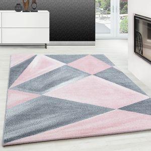 Modern Designer Teppich Geometrische Muster Kurzflor Grau Pink Weiß Meliert, Farbe:PINK,160 cm x 230 cm