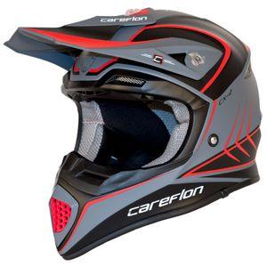 CX-2 Careflon Crosshelm Fiberglass MX Enduro Helm Motorradhelm Gr.54-64, Helm Modell:BLACK HAWK black cool grey, Helm Größe:57-58