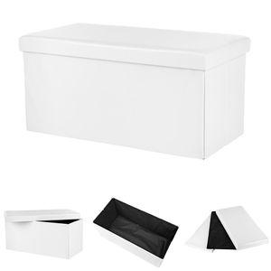 Sitzbank in Weiß Stauraum Faltbar Truhe Fuß Bank Aufbewahrungsbox Polster Kunstleder Sitztruhe