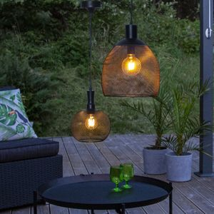 LED Solar Lampe Sunlight - warmweiße LED - H: 35cm, D: 29cm - hängend, schwarz
