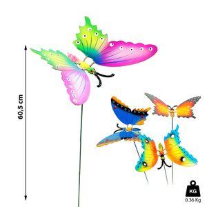 4x Gartenstecker Schmetterling H60 cm Dekostecker Gartendekoration