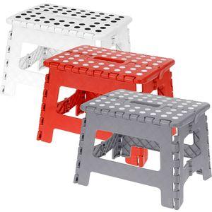 Klapphocker Tritthocker Klapptritt bis 100 kg, rutschfest, Farbe:Rot