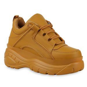Mytrendshoe Damen Chunky Sneaker Plateau Turnschuhe Schnürer Freizeitschuhe 830860, Farbe: Khaki, Größe: 37