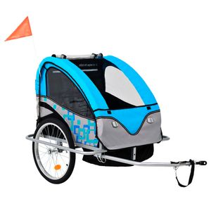 vidaXL 2-in-1 Kinder Fahrradanhänger & Kinderwagen Blau und Grau