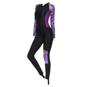 Dive Skins Ganzkörper-Badeanzug Neoprenanzug Scuba Rash Guard Tauchanzug für Frauen Erwachsene, Langarm-Badebekleidung Einteiliger UV-Schutz Schnell Farbe Lila M