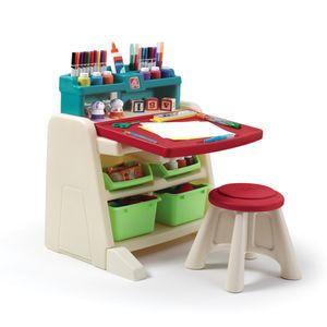 Step2 Flip & Doodle Staffelei mit Schreibtisch & Hocker für Kinder | Kreativitätstisch aus Kunststoff mit Behältern