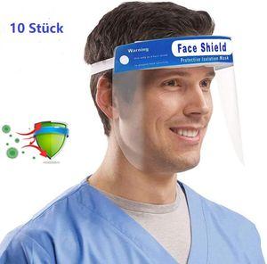 10X Visier Schutzvisier Gesichtsschutz Brille Schutzvisier transparent Gesichtsschutz Visier Anti-Spuck Gesichtsvisier ,Mund Nasen Visier
