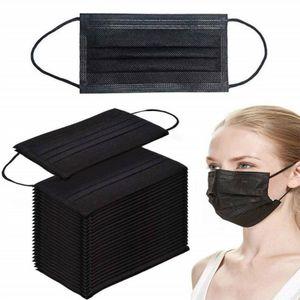 50 Stück schwarze MaskeMundschutzmaske 3-lagiger Einwegmasken Atemschutz