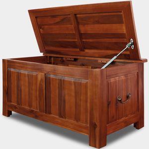 Deuba Holztruhe mit Stauraum und Deckel aus Holz 85x44x48 cm mit Gasdruckheber Antik Groß Truhenbank Couchtisch Truhe