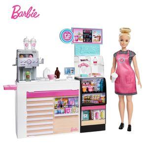 Barbie Nasch-Café Spielset mit Puppe (blond), über 20 Teile Puppen-Zubehör