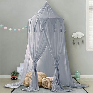 Betthimmel für Kinder Baby Baldachin Spielzimmer Fotografieren rund Höhe 240cm Prinzessin Chiffon hängende Moskitonnetz für Schlafzimmer Dekoration für Bett und Schlafzimmer (Grau)