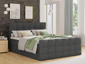 Boxspringbett Best Lux mit Fußteil, 2 Bettkästen, Bonell-Matratze und Topper (Dunkelgrau (Inari 94), 180 x 200 cm)