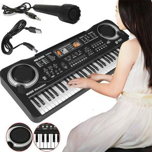 Piano Keyboard 61 Tasten E Klavier mit Mikrofon Geschenk Musikspielzeuge für 3-14 Jahre Kinder Musikinstrument Digital-Piano