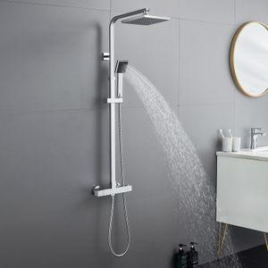 Chorm Brausegarnitur, Bad Duschsystem mit Thermostat, Duscharmatur Regendusche Duschkopf Handbrause Duschstange