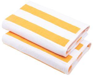 2er Set Badetuch Saunatuch, 70x180 cm, gelb gestreift, 100% Baumwolle