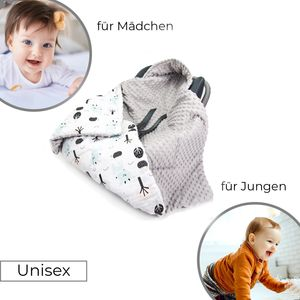 Doppelseitige Einschlagdecke 90x90 cm für Babyschale Autokindersitz Buggy Kinderwagen 90x90cm - universal baby Decke (z.B. Maxi-Cosi/Cybex/Römer), Muster: Hirschkälbe weiss - Minky grau