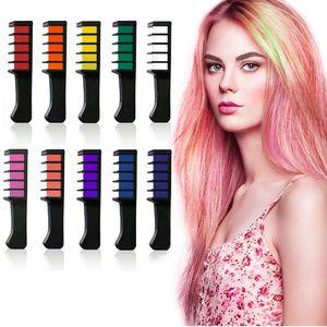 Haarkreide für Mädchen, 10 Stück Haarfarbe Kamm, Temporär Haarfarbe Kreide Kamm für Kinder Haarfärbemittel, Party und Cosplay