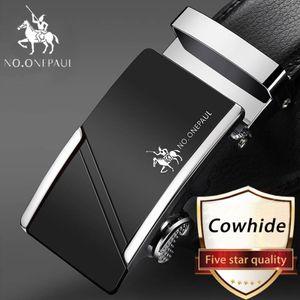 Männer automatische Schnalle echtes Leder Gürtel Kuh Ledergürtel 3,5 cm Breite -(SB,115CM)