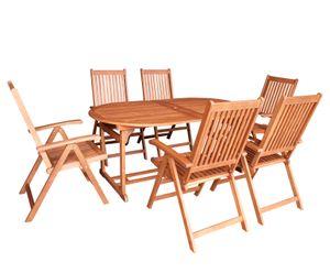 DEGAMO Gartenset Sitzgruppe Gartengarnitur LAGO 7-teilig, 6x Klappsessel 8-fach verstellbar und 1x Ausziehtisch 180/260x100cm, Holz Eukalyptus geölt