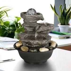 Rock Polyresin Zimmerbrunnen mit LED Beleuchtung Motiv Brunnen Indoor Brunnen (21 * 21 * 29cm)