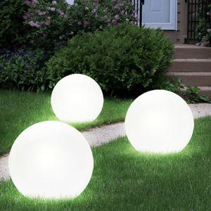 3er Set LED Kugel Solarleuchten, Durchmesser 2x 15 cm, 1x 20 cm