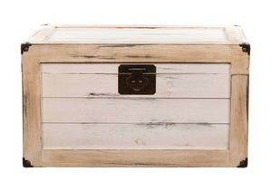 BS17001NEUS Antikweiß ECHTHOLZ MASSIV Truhe Schatzkiste Kiste Piratenkiste, Größe:Größe M (40cm B x 25cm H x 25cm T )