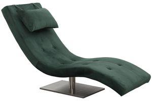 SalesFever Relaxliege mit Nackenkissen | Stoffbezug in Samt-Optik | Gestell Edelstahl | B 60 x T 170 x H 82 cm | grün